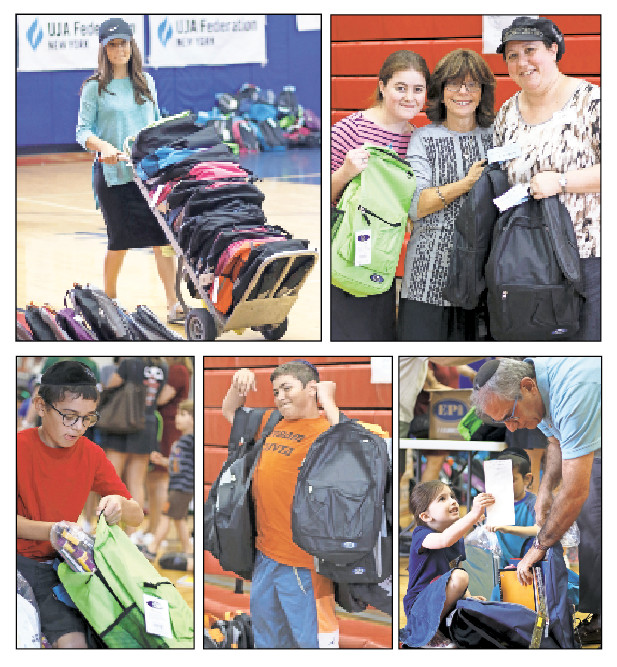 Top, from left: Barbara Satt from JCCRP, and Rebbetzin Shani Lefkowitz and Pam Bluth. Bottom, from left: Avigdor Trachtenberg, volunteering for the second time; Dovid Bluth, loaded with bags bound for Darchei; and Bracha Waldman, 5, with her grandfather Arnie Waldman who has been volunteering for years.