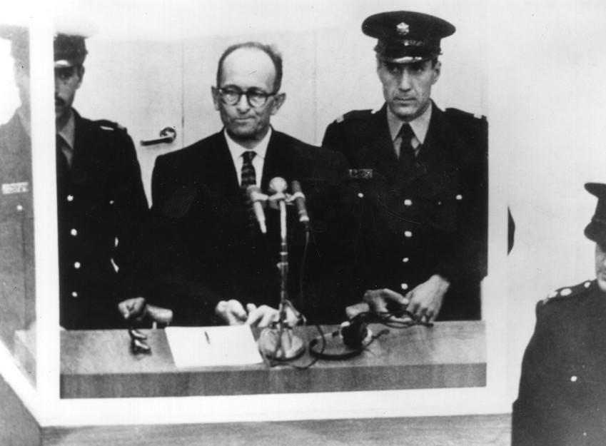 Austrian Nazi war criminal Karl Adolf Eichmann on trial in Jerusalem in 1961.