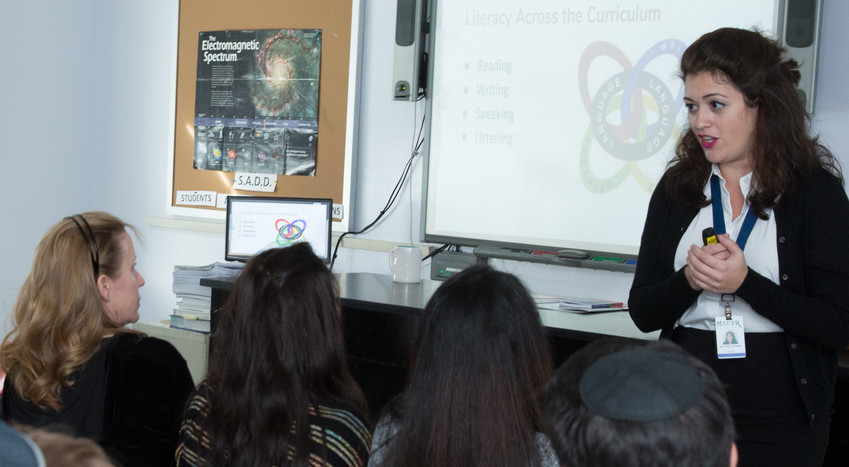 Dr. Hindi Krinsky led an open house session for prospective ninth-grade parents last November.