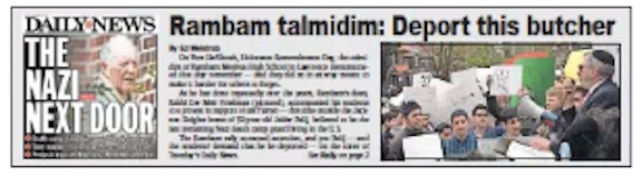 The Jewish Star's coverage of a 2017 protest by Rambam students at the Nazi's home featured the cover of the New York Daily News.