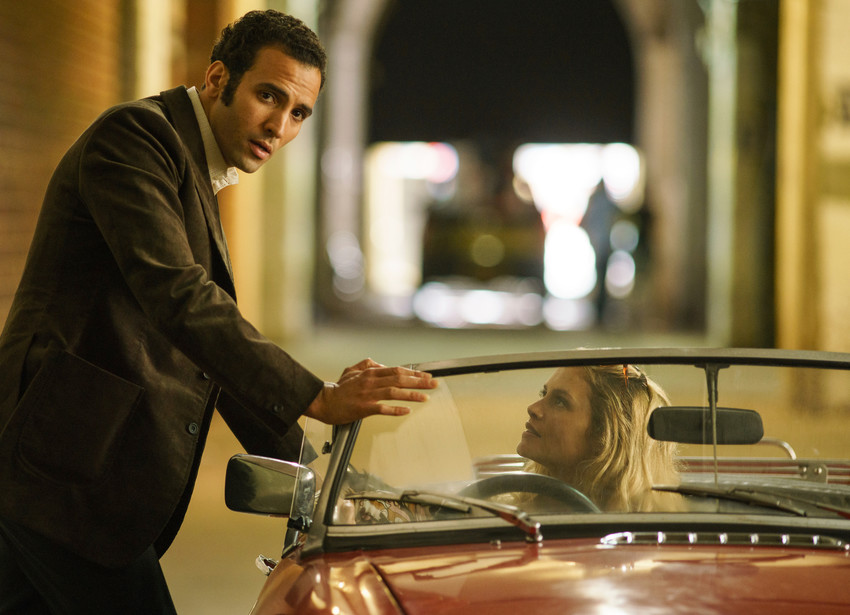 "Marwan Kenzari, left, and Hannah Ware in ""The Angel."" Kenzari plays Egyptian spy Ashraf Marwan."