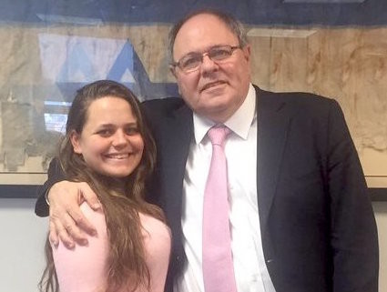 Ofir Dayan with her father, Israel's Consul General in New York Dani Dayan.