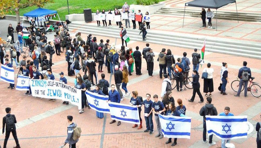 Students with UC Berkeley's Bears for Israel hold a counter-demonstration at a Students for Justice in Palestine rally.