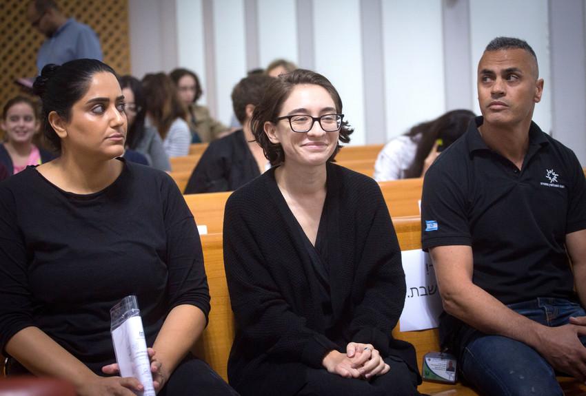 Lara Alqasem arrives at the Supreme Court in Jerusalem on October 17.