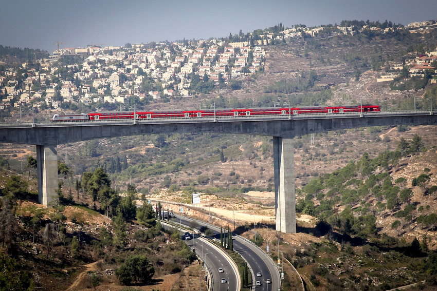 A view of the Tel Aviv-Jerusalem fast train seen over the Haarazim valley just outside of Jerusalem, on Sept. 25.