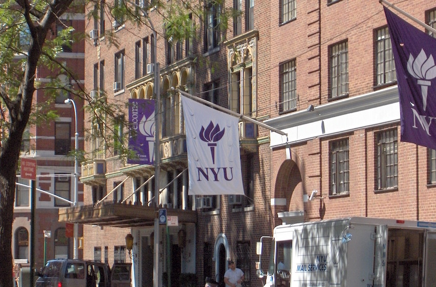 A site on NYU's campus in Greenwich Village.