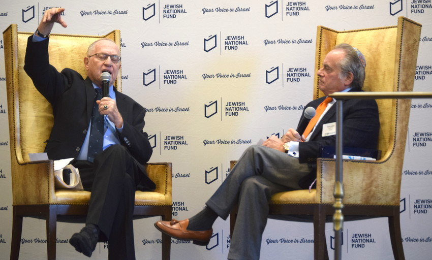 Attorneys Alan Dershowitz (left) and Benjamin Brafman at JNF event in the Five Towns.