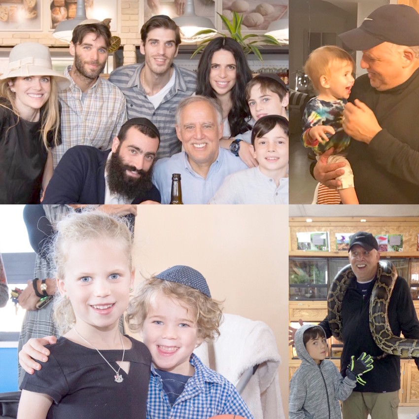 Top left photo, from left: Standing, Esther and husband Yoni Joszef, Jerry's son and daughter Elliot and Jordana, and Jordana's son Yisroel; Seated, Jerry's son-in-law Yitz, Jerry, and Jordana's son Shaya. Top right photo: Jerry with grandson Yedidya. Bottom left photo: Grandchildren Lia Rose and Noach. Bottom right photo: Jerry and grandson Nadav, who volunteers at a pet store.