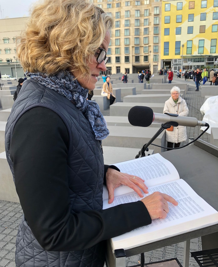 During a service at a Shoah memorial in the German capital, Nassau County Executive Laura Curran reads aloud names of Berliners who perished during the Holocaust.