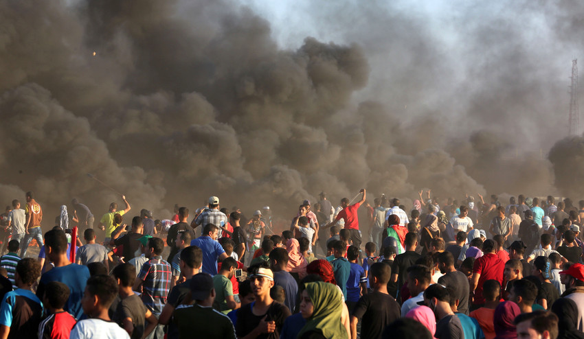 Palestinian protesters during clashes with Israeli security forces on the Gaza-Israeli border on Sept. 14, 2018.