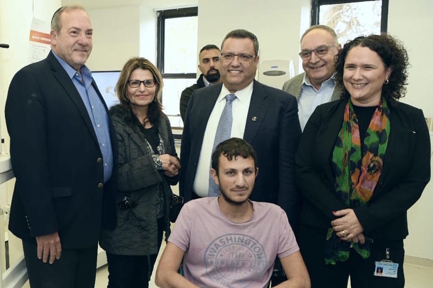 At an event heralding the inauguration of a Lokomat Robotic Treadmill at the Hadassah Hospital Rehab Center, from left: Rabbi Yechiel Eckstein, Dalia Itzik, Jerusalem Mayor Moshe Lion, Hadassah Hospital Director General Ze'ev Rotstein, and Director of Hadassah Hospital Mount Scopus Tamar Elram.