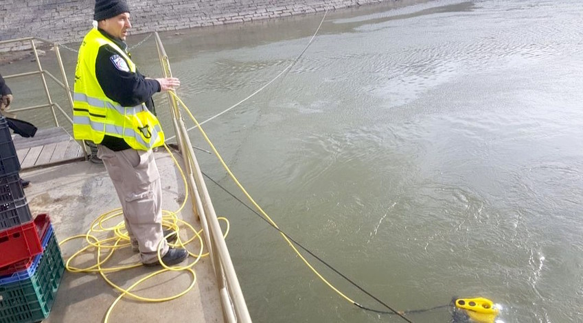 A ZAKA Divers Unit uses a special sonar device and integrated underwater camera to search for Holocaust victims' bones at the Danube River in Budapest, on Jan. 15.