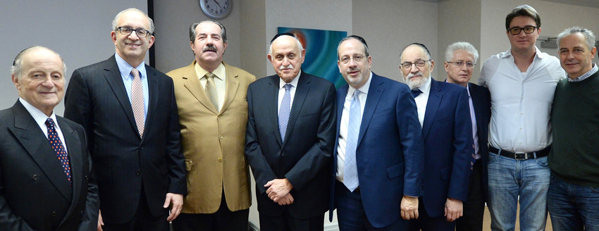 From left: Daniel Retter, Esq., member of the Touro board of governors; Dr. Alan Kadish, Touro president; Alex Rovt, donor; Dr. Robert Goldschmidt, dean of Touro's Lander College of Arts & Sciences in Flatbush; Rabbi Moshe Krupka, Touro executive vice president; Dr. Stanley Boylan, Touro vice president of undergraduate education; David Weisz, cousin of Alex Rovt; Maxwell Rovt, son of Alex Rovt; and Alfred Weisz, cousin of Alex Rovt.