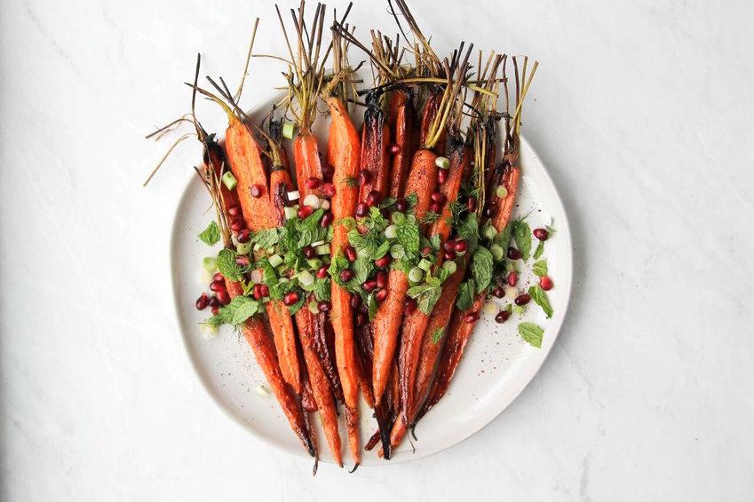 Pomegranate roasted carrots with sumac