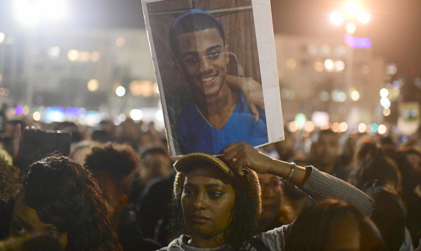 Ethiopian Israelis protrest against police violence against Ethiopians, in Tel Aviv on Jan. 30.