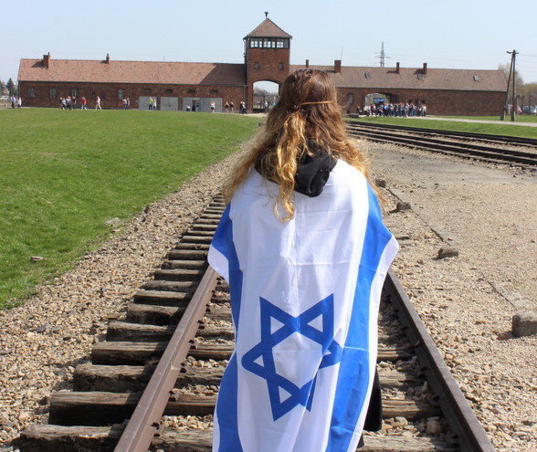 A student from HAFTR at the Auschwitz-Birkenau site in Poland in 2016.