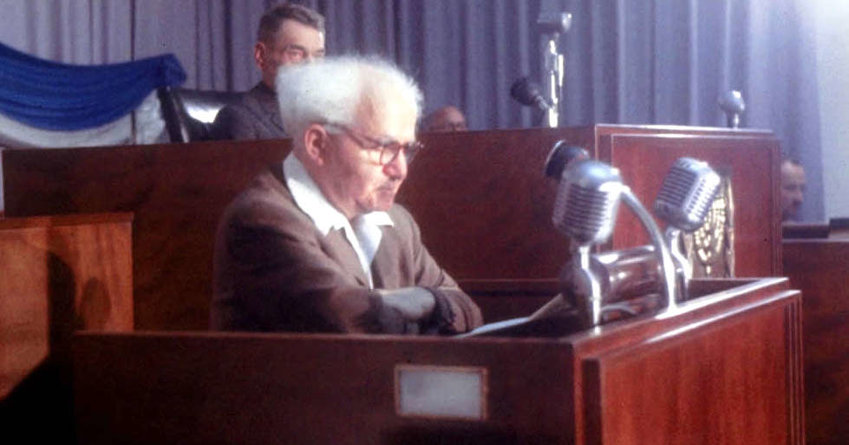 Israeli Prime Minister David Ben-Gurion in the Knesset on Jan, 1, 1957.