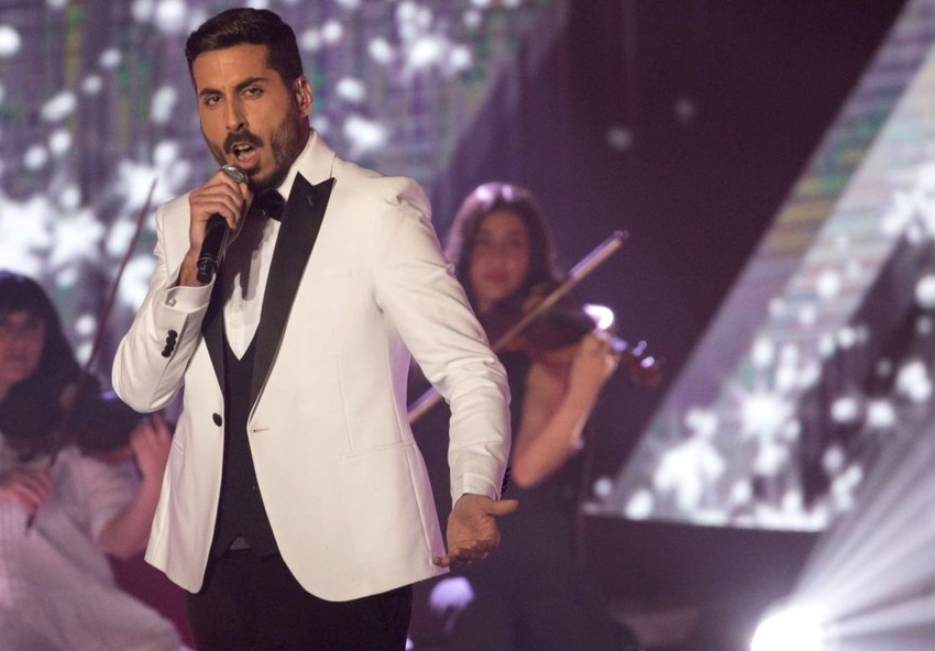 "Kobi Marimi performs in Jerusalem on Feb. 12 during the final of the reality show ""The Next Star."""