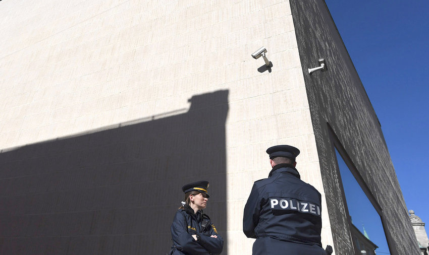 Police stand guard in front of the new Regensburg Synagogue in Germany.