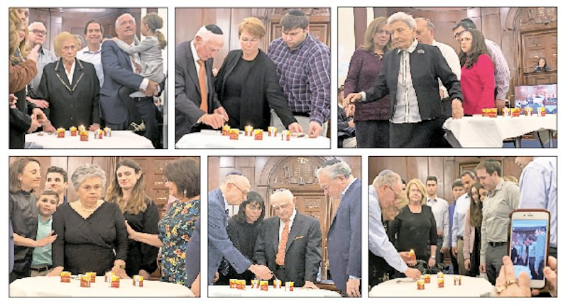 Six survivors lit six yahrzeit candles at the Five Towns Community-Wide Holocaust Commemoration on May 1 at Congregation Beth Sholom — top row, from left: Phyllis Margulies, Frank Berger, Natalie Gomberg (at far right, event co-chair Dana Frenkel reads a biography of each survivor as they light); bottom row, from left: Luba Schulsinger, Mel (Mendel) Klapper, Gloria Grossman.
