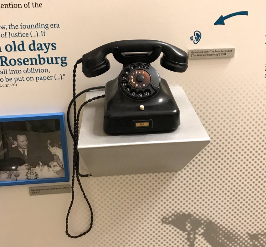 Pick up the phone and hear voices making excuses for why jurists participated in the Nazi regime, and recalling the good old times at the Rosenburg.