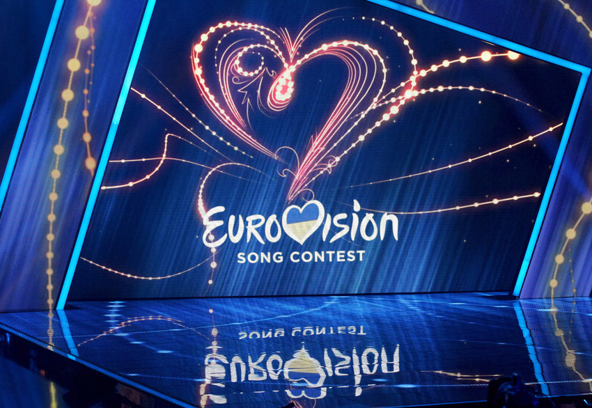 The logo of Eurovision Song Contest displayed during the 2019  Eurovision Song Contest (ESC) national selection show, in Kiev.