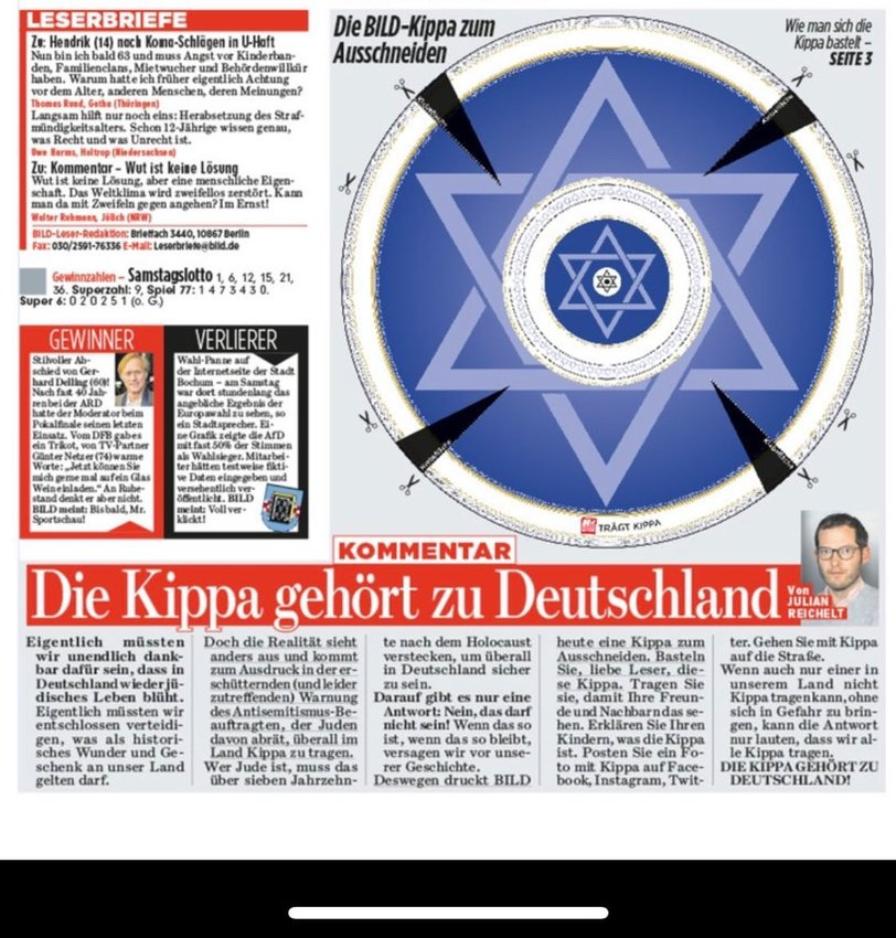 "A cutout kippah on the front page of Bild, above Julian Reichelt's editorial: ""The kippah belongs to Germany."""