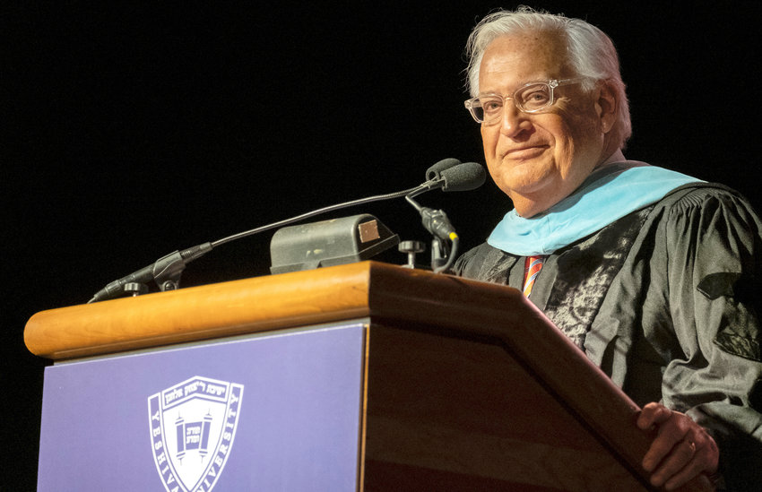 U.S. Ambassador to Israel David Friedman delivers the commencement address at Yeshiva University's event at Madison Square Garden.