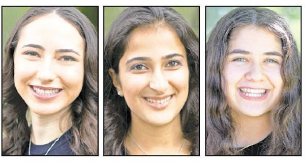 Yeshiva University High School for Girls (Central) top graduation honorees (from left): Valedictorian Tehilla Rothbort, salutatorian Rachel Aranov, and Keter Shem Tov awardee Elisheva Ezor.