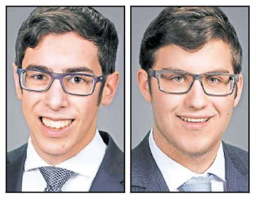 Yeshiva University High School for Boys (MTA) Valedictorian Noam Mayerfeld (left) and salutatorian Ephraim Crystal.