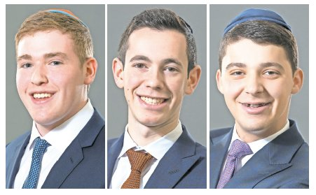 From left: Valedictorian Jacob Penstein, Salutatorian Yehuda Frankel, and Keter Shem Tov awardee Joseph Greenberg.