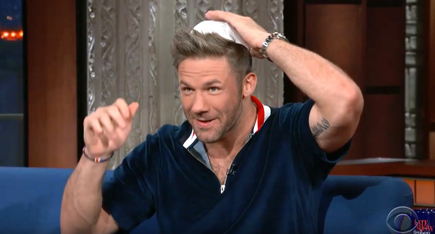 "MVP Julian Edelman wears a kippah on ""The Late Show with Stephen Colbert."""