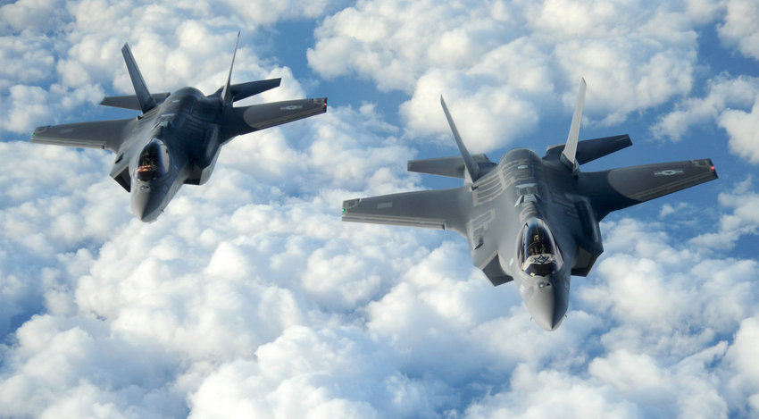 Two Israeli F-35I Adir jets, referenced by Prime Minister Netanyahu, fly in formation.