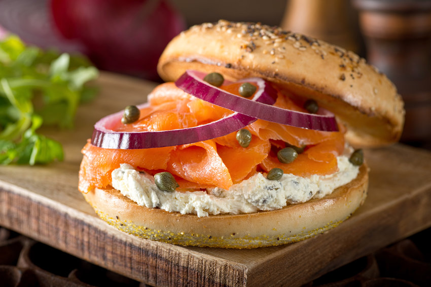 A bagel with lox and cream cheese he bagel alone has the nutritional equivalent of five slices of white bread.