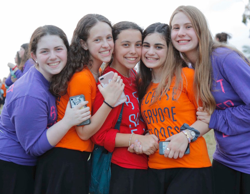 At NCSY's event in Park Raanana, from left: Ariella Merrill and Leah Frankel of West Hempstead, Shira Schwartz and Rebecca Silvera of Woodmere, and Leora Muskat of Oceanside.