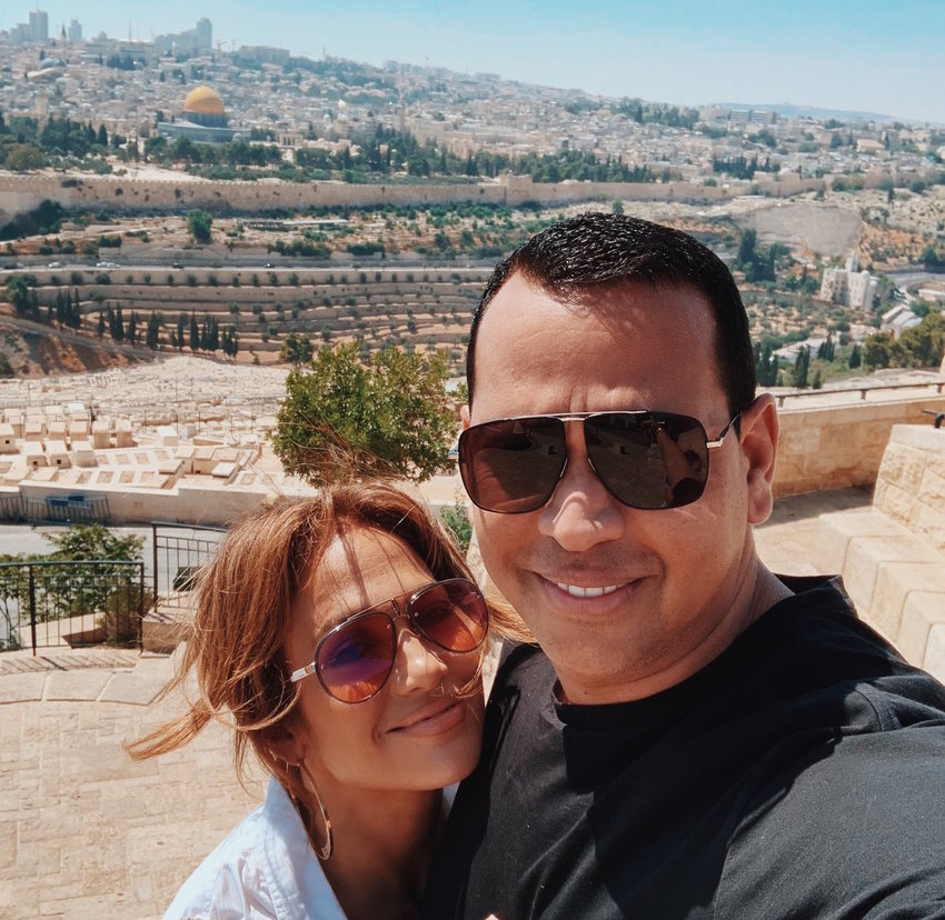 """Jennifer Lopez and Alex Rodriguez in Jerusalem on Aug. 2. @AROD tweeted: """"Jerusalem, you are unforgettable. What a perfect finale to our first trip to this beautiful land."""""""