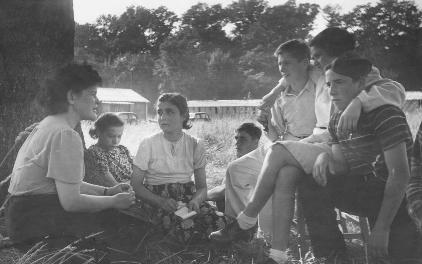 Young Jewish refugees at a camp near Windermere in Cumbria, 1946. The camp was known as the Calgarth Housing Estate and was run by the Central British Jewish Relief Fund for young people rescued from the Holocaust.