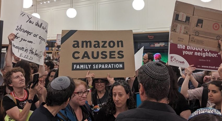 Jewish demonstrators in Manhattan's Amazon store on Tisha B'Av.