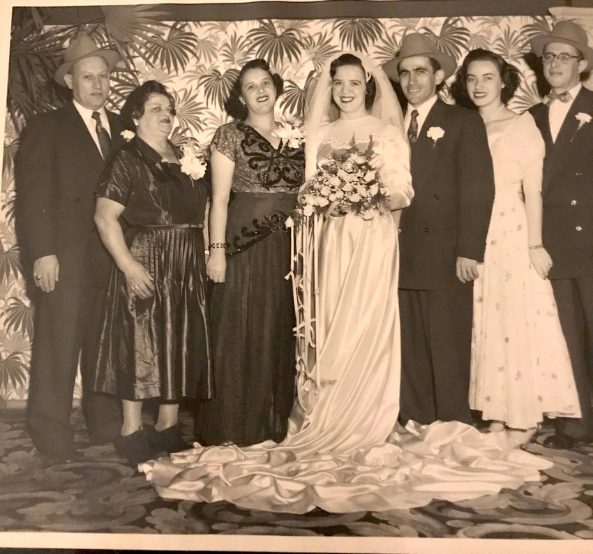From left: Jerry's uncle Dovid, Jerry's great aunt Rachel (who came before the war), his aunt Rochel, his mom and dad Mattel and Miklosh Joszef, his aunt Chaiku and his uncle Bernie. Except for his great aunt Rachel, they all spent about six years in DP camps. His mom's older sister Sara and her husband Simcha were still in a DP camp when this wedding took place on Dec 7, 1952.