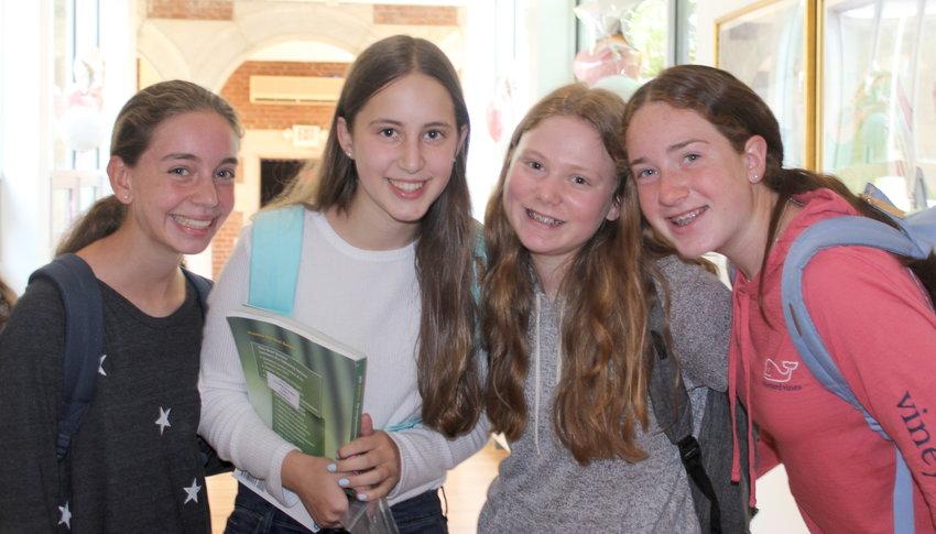 Opening day at SKA, from left: Freshmen Kira Kleyman, Lea Septimus, Samantha Sigman and Simona Goldberg.