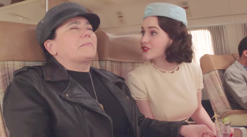 "Alex Borstein, left, and Rachel Brosnahan in ""Marvelous Mrs. Maisel."""