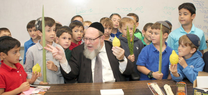 Rav Eliyahu Saldinger teaches his second grade talmidim at Yeshiva Darchei Torah in Far Rockaway about the lulav and esrog, important mitzvot attached to Sukkos, which begins Sunday night.