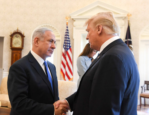 Israeli prime minsiter Benjamin Netanyahu meets with president Donald Trump  at the White House on March 05, 2018.