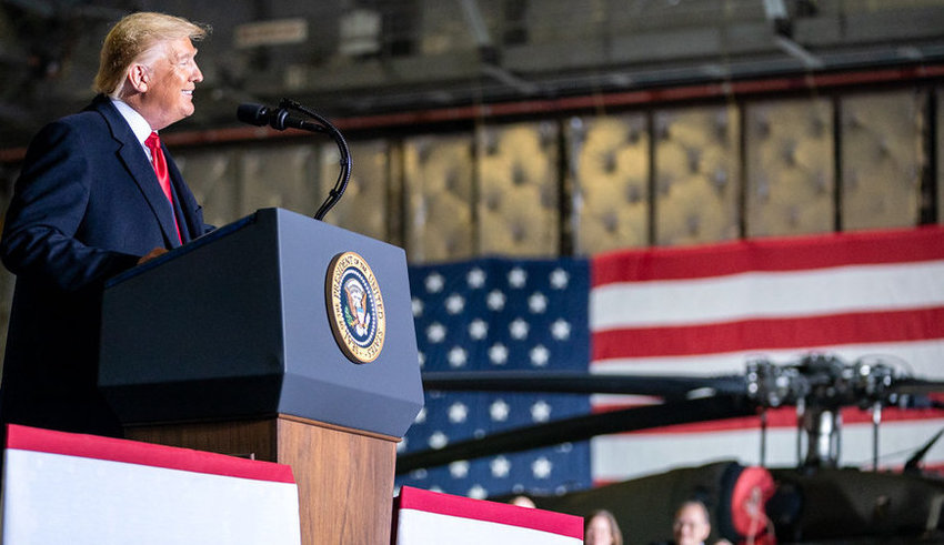 President Donald Trump speaks in Hanger 6 at Andrews Air Force Base in Maryland on Dec. 20, 2019.