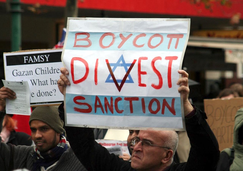 Melbourne, Australia, has been the site of anti-Israel and anti-Jewish sentiment before, as in this BDS protest against Israel's Gaza blockade in 2010.