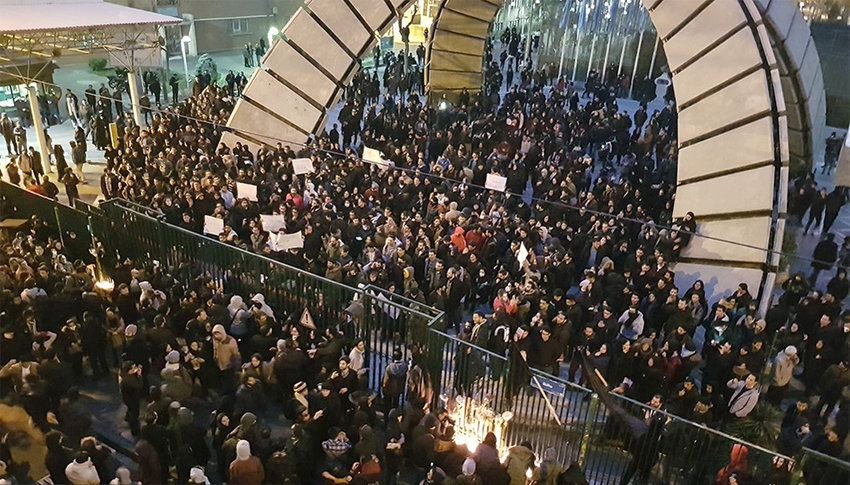 Protests at Amir Kabir University in Tehran against the government and its leaders after Ukraine International Airlines Flight 752 was shot down on Jan. 8, killing all 176 passengers on board.