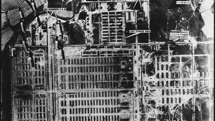 One of a series of aerial reconnaissance photos of the Auschwitz concentration camp taken between April 4, 1944 and Jan. 14, 1945, but not examined until the 1970s.