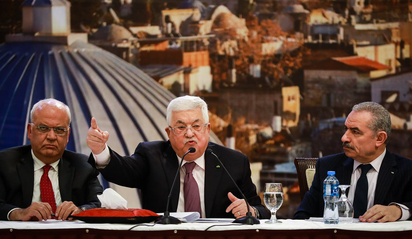 Palestinian president Mahmoud Abbas delivers a speech regarding the Middle East peace plan, at the Palestinian Authority headquarters in Ramallah, on Jan. 28.