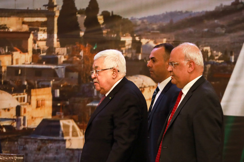Palestinian president Mahmoud Abbas delivers a speech regarding the Middle East peace plan, at the Palestinian Authority headquarters, in the West Bank city of Ramallah, January 28, 2020.