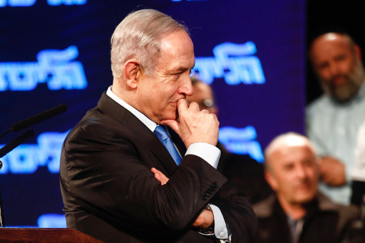 Israeli prime minister Benjamin Netanyahu at a Likud party event in Lod, on Feb. 11.